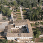Aerial photo of the Raixa gardens estate in Bunyola Majorca