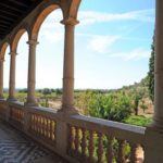 Cloister terrace walk at the Raixa gardens manor near Bunyola Majorca