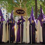 People dressed in religious robes for the Semana Santa celebrations in Majorca