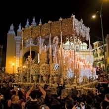 Religious floats in the Semana Santa parade Majorca