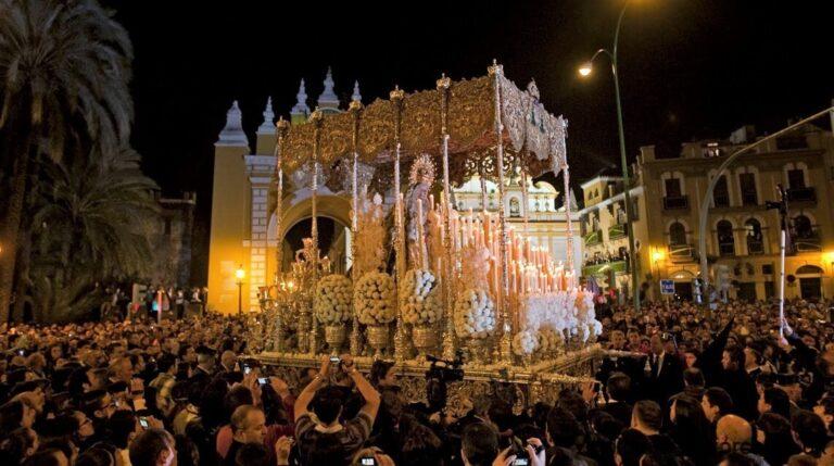 Religious floats in the Semana Santa parade Majorca