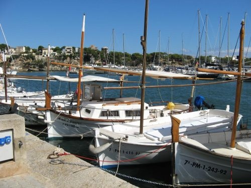 Small Majorcan boats at Porto Cristo Majorca