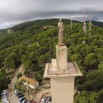 Statue at Na Burguesa from the air