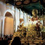 Statue of Mary in the parade for Semana Santa Majorca