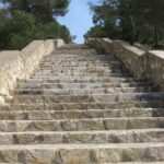 The steep steps to Cala Falco beach in Majorca