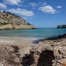 A view of Cala Bota bay Majorca looking from the beach