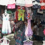 A clothing stall at Sineu market Majorca
