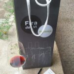 A wine tasting glass and bottle bag at the Pollensa wine tasting fair Majorca