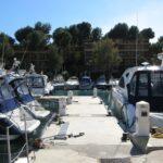 Boats on a small jetty at Santa Ponsa harbour Majorca