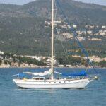Close up of sailing boat in Palma Nova bay Majorca