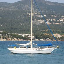 Close up of sailing boat in Palma Nova bay Majorca