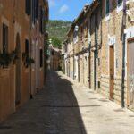 Cobbled picturesque streets in Esporles Majorca