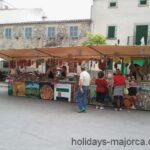 Cold meats being sold at Sineu market Majorca