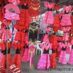 Colourful Flamenco-dresses for sale at Inca-market Majorca