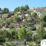 Houses built on the side of the mountains at Galilea Majorca