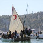 Moors sailing into port at the Christians vs Moors festival in Soller Majorca