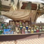 Natural scented soaps for sale at the Capdepera medieval market Majorca
