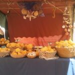 Natural sponges for sale at the Capdepera medieval market Majorca