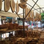 Olive wood craft pieces for sale at Inca market Majorca