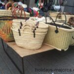Traditional weaved basket style bags for sale at Inca market Majorca